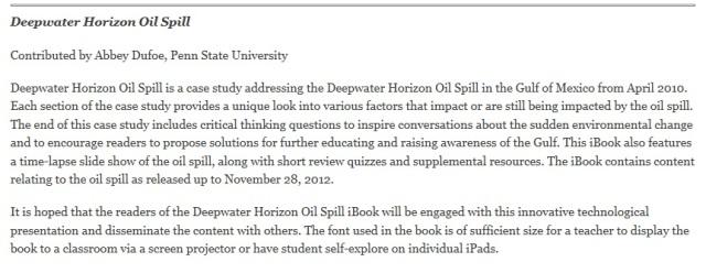 Deepwater Horizon Oil Spill: another iBook
