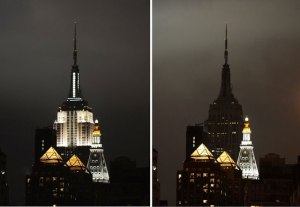 The Empire State Building goes dark for Earth Hour 2013