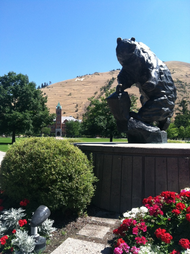 "View of the Grizzly Statue on a clear day - notice the ""M"" on Mt. Sentinal in the background"