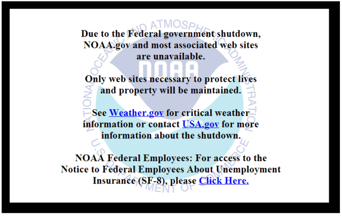 Because of the shutdown, I couldn't access data from NOAA.