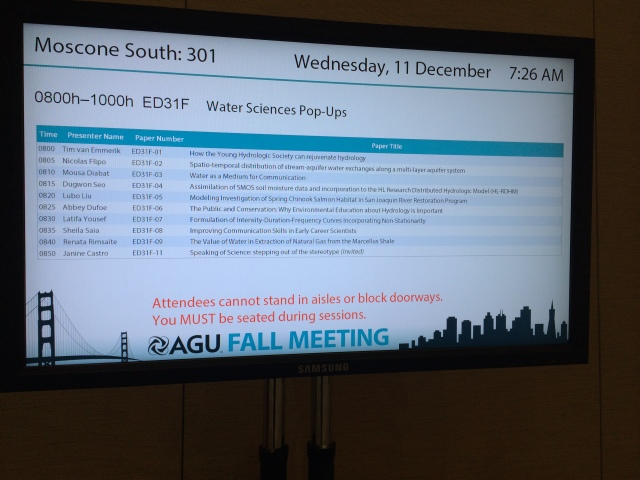 TV outside the meeting room - check out the presenter at 8:25!