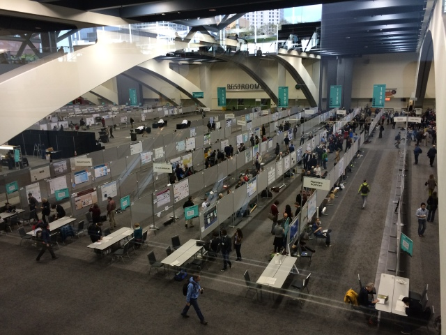 Overhead view of the poster hall - about 2800 posters per day!