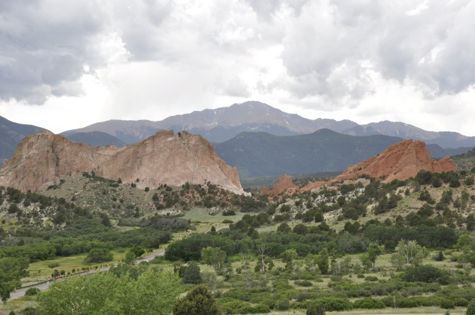 Pikes Peak in the background with Garden of the Gods in the foreground.