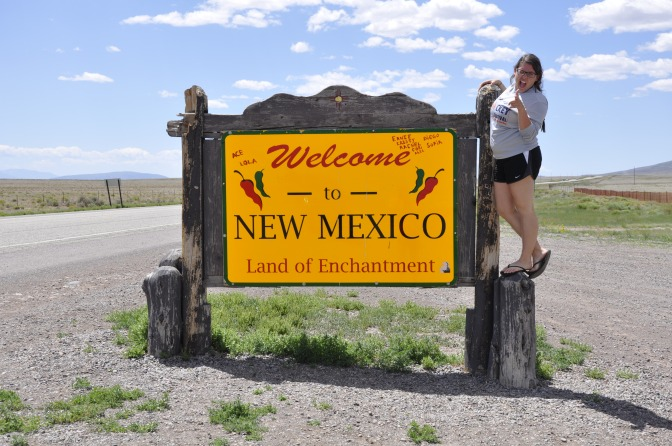 Me at the southern Colorado-Northern New Mexico border sign.