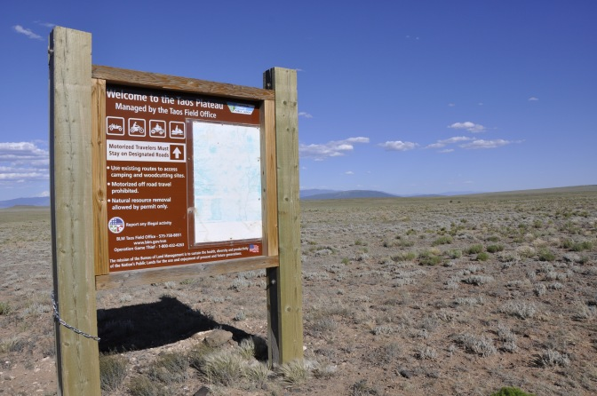 Taos Plateau sign - off-roading it is!