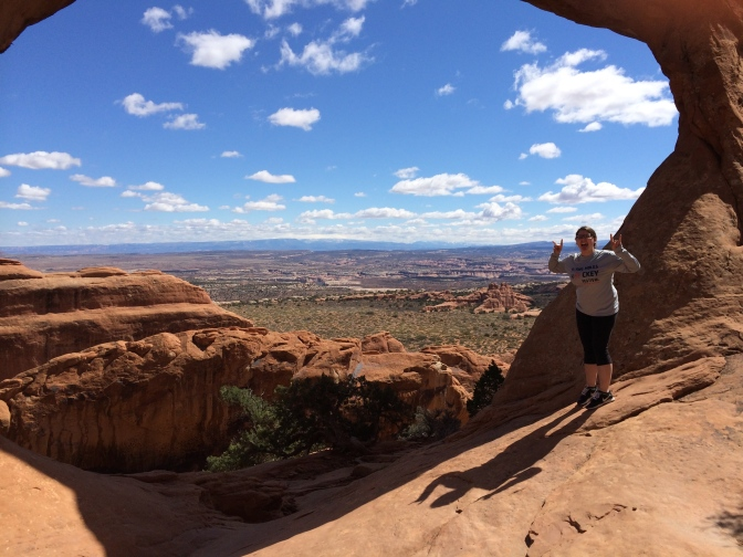 Me being silly, as always. Overlooking Arches NP.