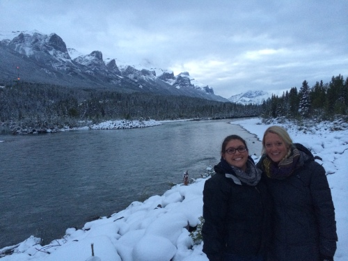Me and Erin along the Bow River in downtown Canmore - view of Rundle Peaks in the background.