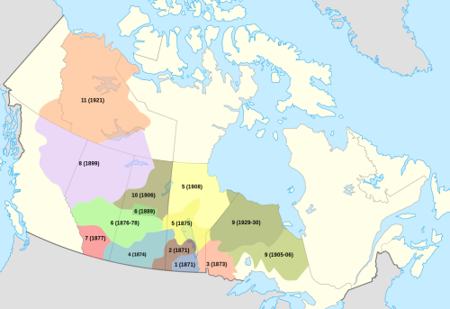 Location of Treaty Lands in Canada. Calgary is on Treaty 7 lands.