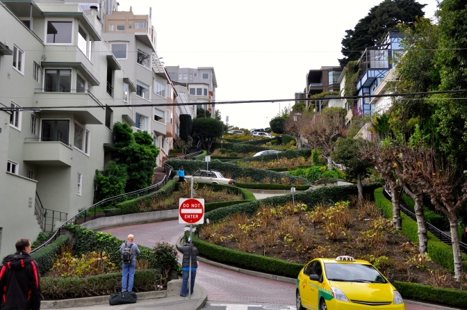 Lombard Street, the crookedest in the world!, from the bottom.
