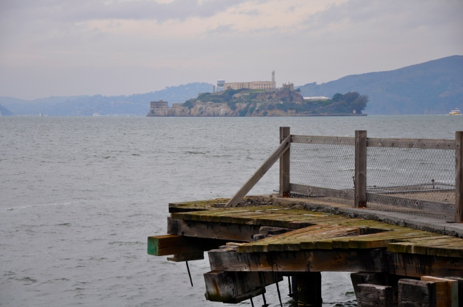 Alcatraz Island (former prison) as seen from the piers between Fishermans Wharf and Pier 39.