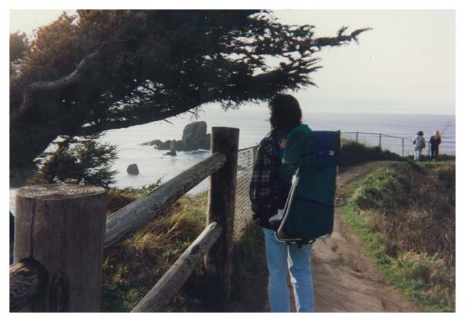 My mom and me on the Oregon Coast in the fall of 1991.