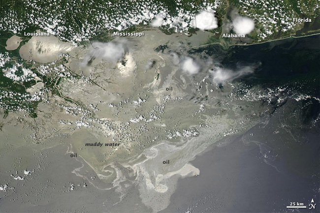 Map of the spill during summer 2010 (photo by NASA)